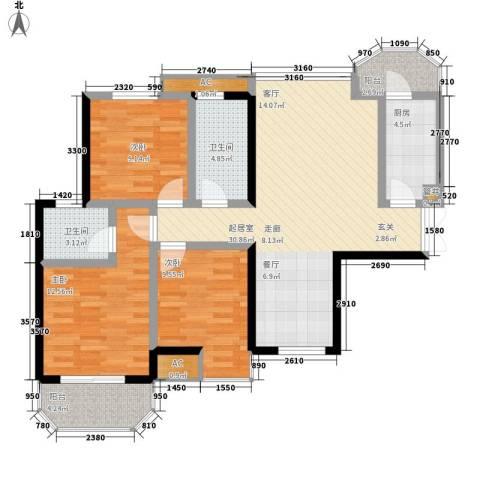 神仙树大院(高新)3室0厅2卫1厨114.00㎡户型图