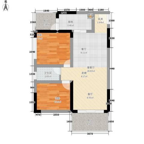 金科桦林景苑2室1厅1卫1厨55.00㎡户型图
