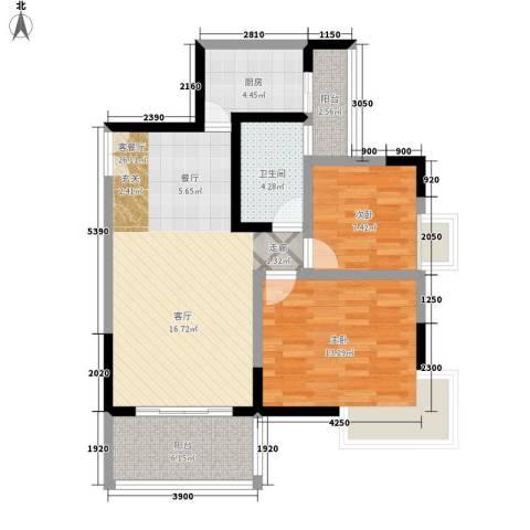 国窖明城2室1厅1卫1厨72.00㎡户型图