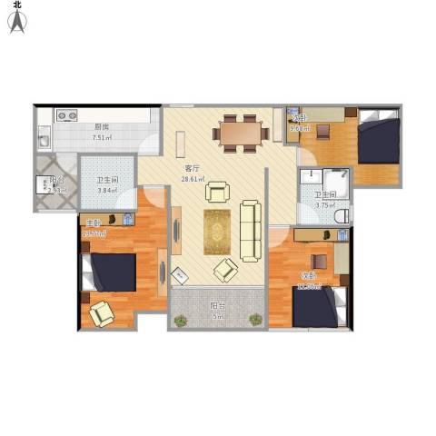 海伦堡3室1厅2卫1厨117.00㎡户型图