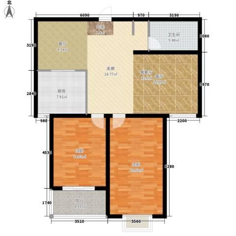 水木清华苑2室1厅1卫1厨106.00㎡户型图