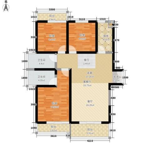 金源皇家园林1厅2卫1厨123.00㎡户型图