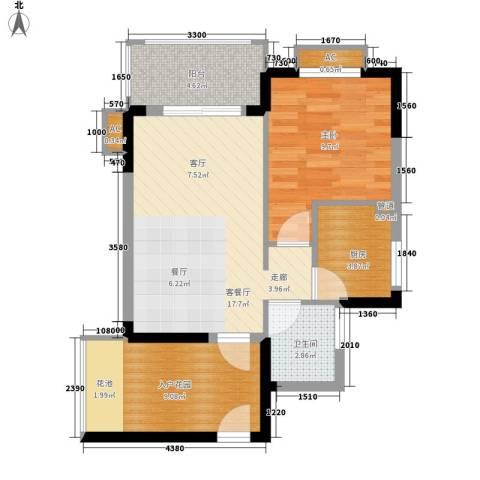 万宁东岸假日1室1厅1卫1厨70.00㎡户型图