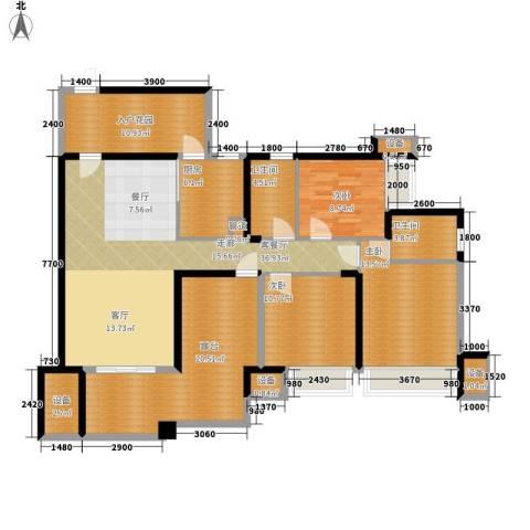 中海北滨华庭3室1厅2卫1厨121.39㎡户型图