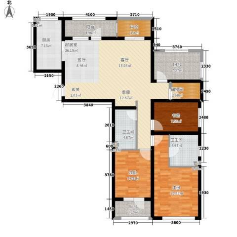 朗诗绿色街区3室0厅2卫1厨128.00㎡户型图