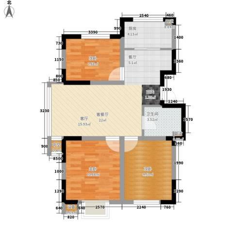 建发滨湖家园3室1厅1卫1厨85.00㎡户型图