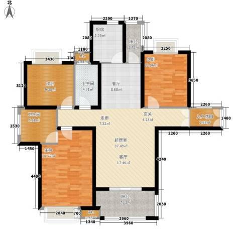 汉鼎瑞和园3室0厅2卫1厨120.00㎡户型图