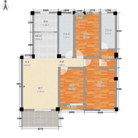 香山花园3室0厅2卫1厨170.00㎡户型图