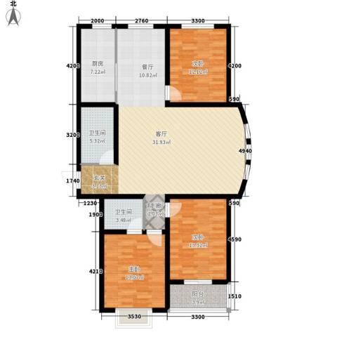水木清华苑3室1厅2卫1厨149.00㎡户型图