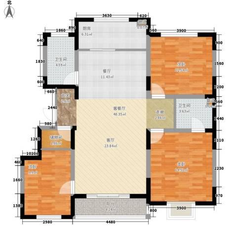 建发滨湖家园3室1厅2卫1厨140.00㎡户型图