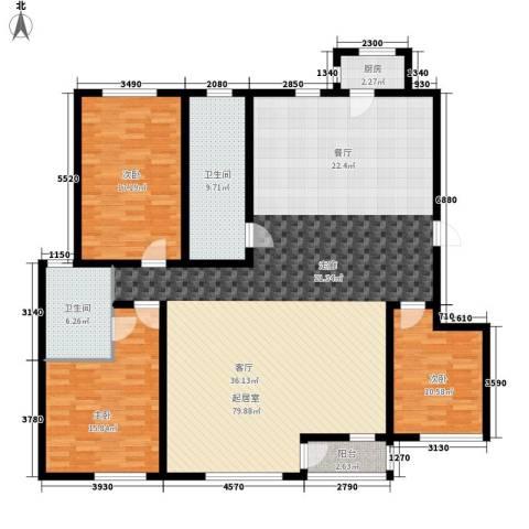 富力津门湖红树花园3室0厅2卫1厨160.00㎡户型图