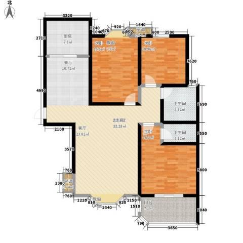 上城公馆3室0厅2卫1厨133.00㎡户型图