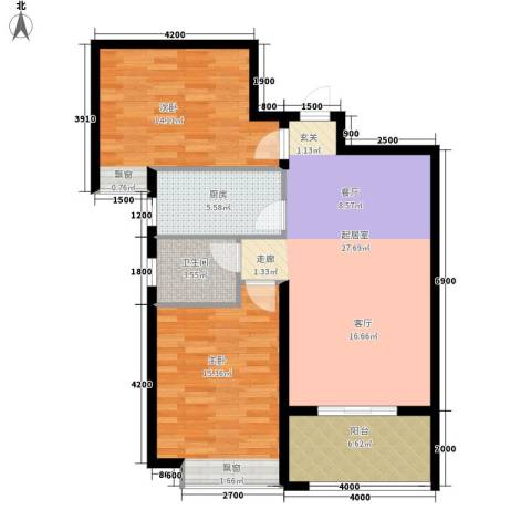 东方今典中央城2室0厅1卫1厨96.00㎡户型图