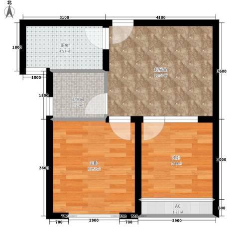东方今典中央城2室0厅1卫1厨57.00㎡户型图