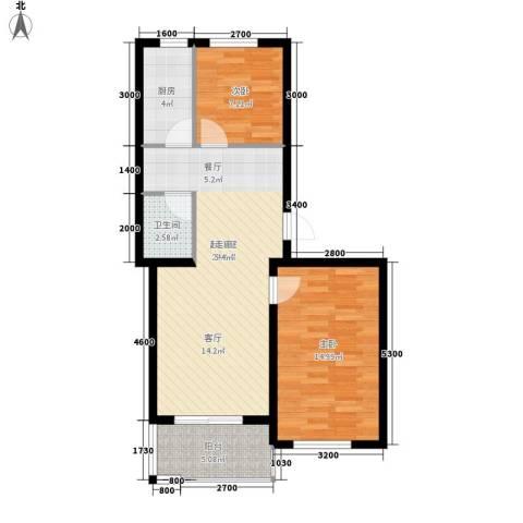 大秦华府2室0厅1卫1厨83.00㎡户型图