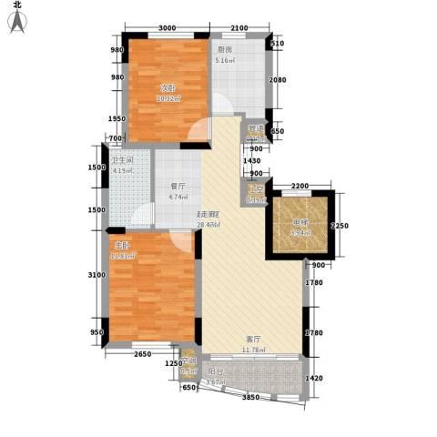 中央花园2室0厅1卫1厨95.00㎡户型图
