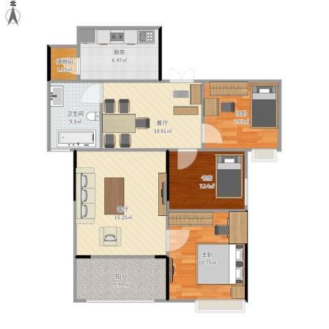 寰宇世家3室2厅1卫1厨96.00㎡户型图