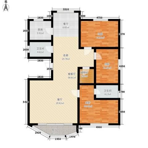 城南家园3室1厅2卫1厨139.00㎡户型图
