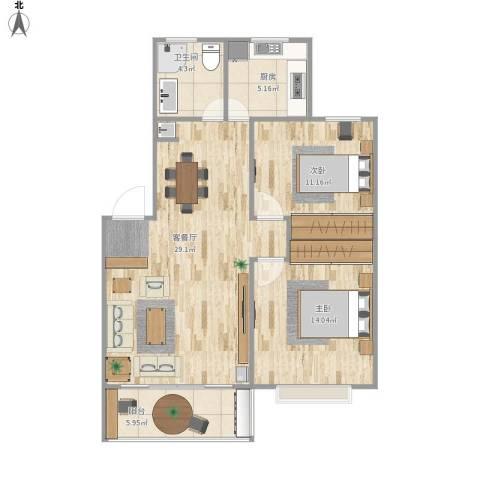 浦发绿城2室1厅1卫1厨94.00㎡户型图