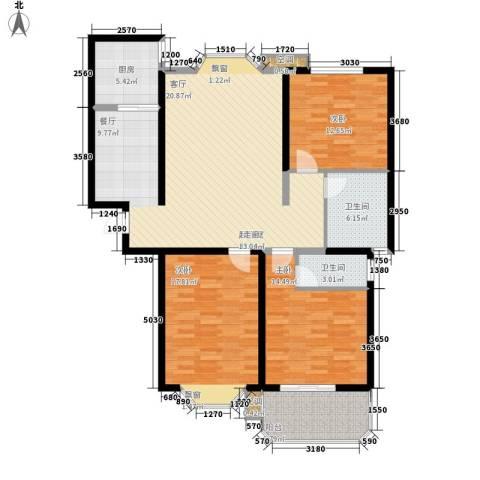 上城公馆3室0厅2卫1厨124.00㎡户型图