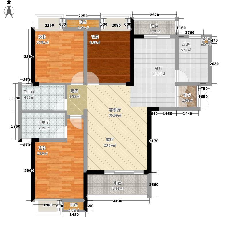 富川鸿景园124.95㎡B1户型3室2厅2卫