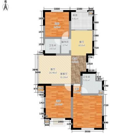 建发滨湖家园3室1厅2卫1厨123.00㎡户型图