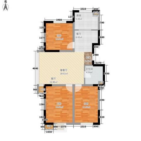 建发滨湖家园3室1厅1卫1厨107.00㎡户型图