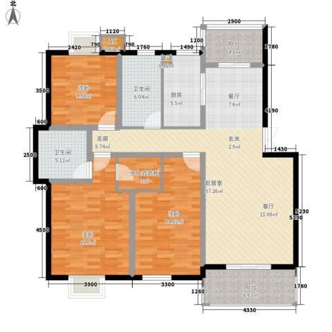 梅林苑3室0厅2卫1厨109.66㎡户型图