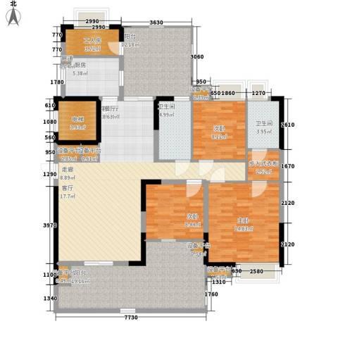 荟雅名苑3室1厅2卫1厨179.00㎡户型图