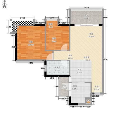 富力桃园2室0厅1卫1厨81.00㎡户型图