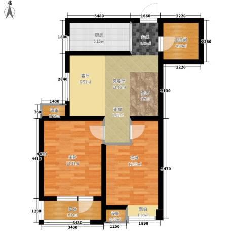 新梅江雅境新枫尚2室1厅1卫1厨90.00㎡户型图