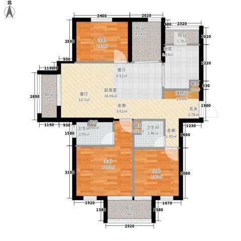 奥园印象高迪3室0厅2卫1厨88.06㎡户型图