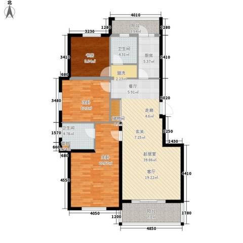 奥园印象高迪3室0厅2卫1厨122.57㎡户型图
