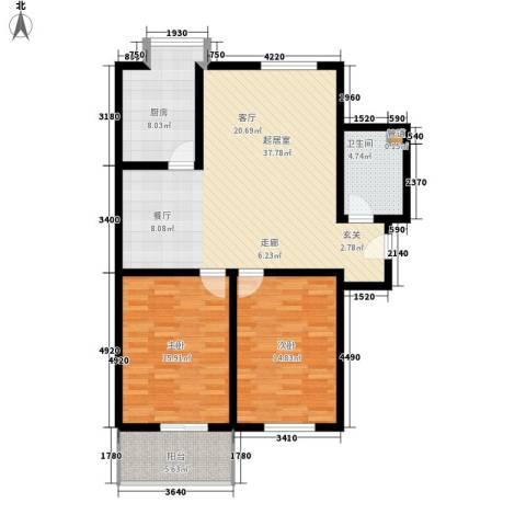 梅亭苑2室0厅1卫1厨98.35㎡户型图
