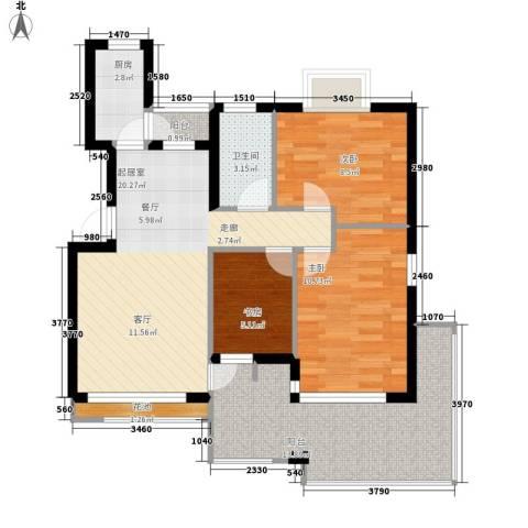 梅林苑3室0厅1卫1厨77.00㎡户型图