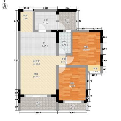 唐庄2室0厅1卫1厨71.00㎡户型图