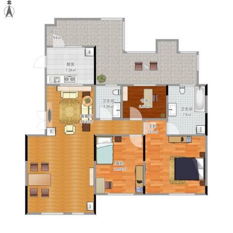 藏珑16203室1厅2卫1厨146.00㎡户型图