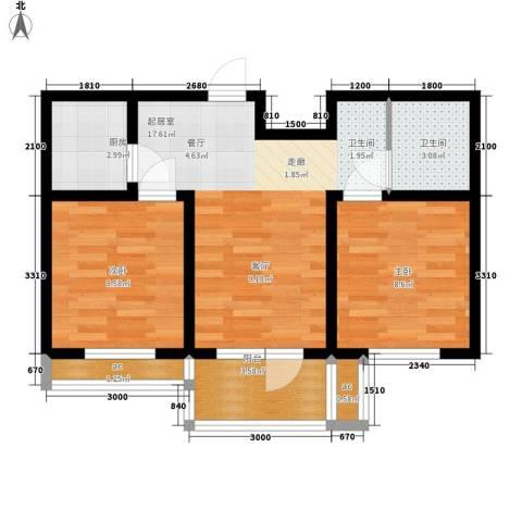 五岳溪谷2室0厅1卫1厨69.00㎡户型图