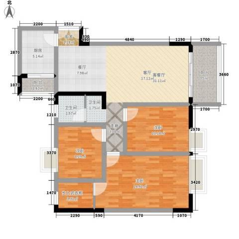 国窖明城3室1厅1卫1厨98.00㎡户型图