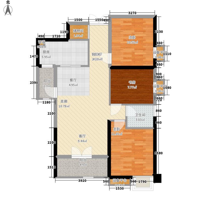 裕亚银湖城104.99㎡1、7号楼C2户型3室2厅
