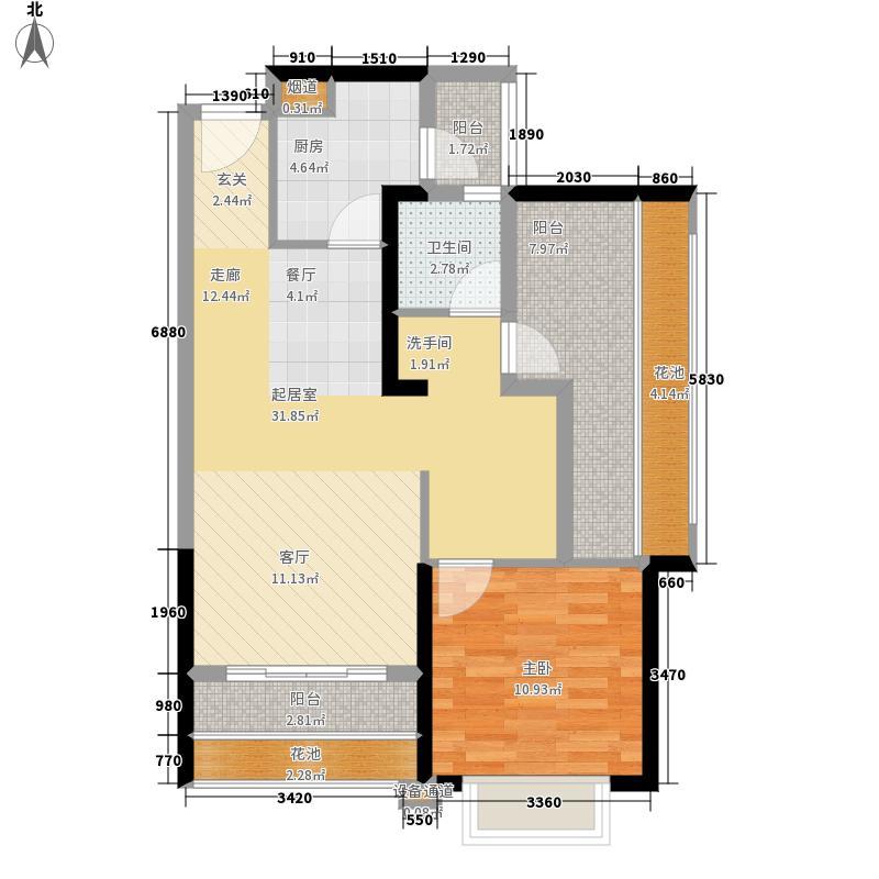龙光普罗旺斯81.00㎡3#楼03-05户型1室2厅