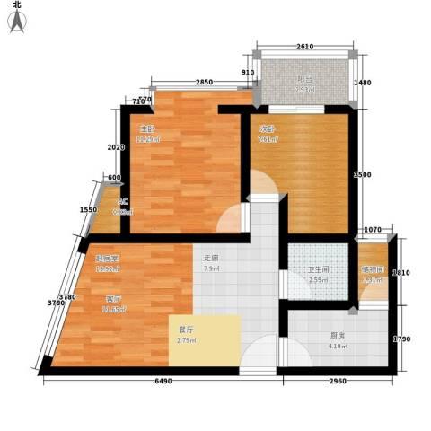 海宇依云香榭2室0厅1卫1厨60.00㎡户型图