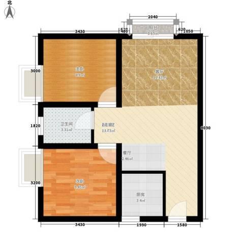 海宇依云香榭2室0厅1卫1厨58.00㎡户型图