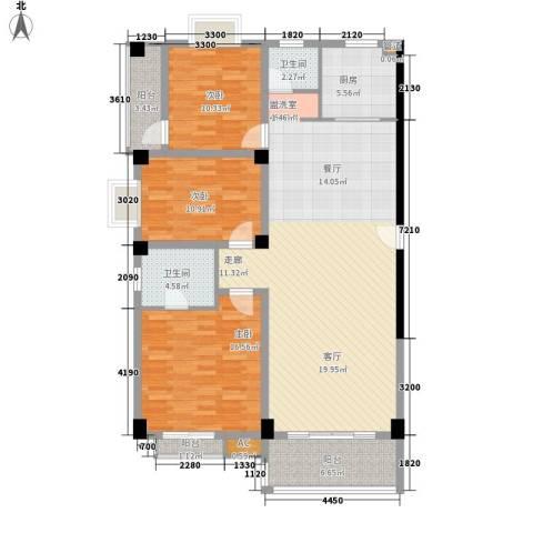 长房西城湾3室0厅2卫1厨136.00㎡户型图