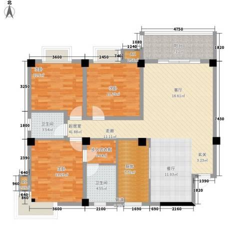 长房西城湾3室0厅2卫1厨134.00㎡户型图