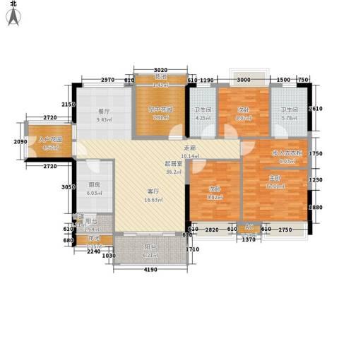 东方新城3室0厅2卫1厨132.00㎡户型图