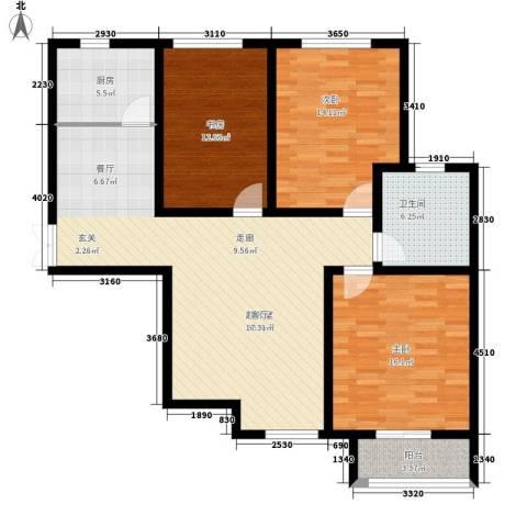 锦城3室0厅1卫1厨107.00㎡户型图