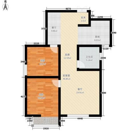锦城2室0厅1卫0厨88.00㎡户型图