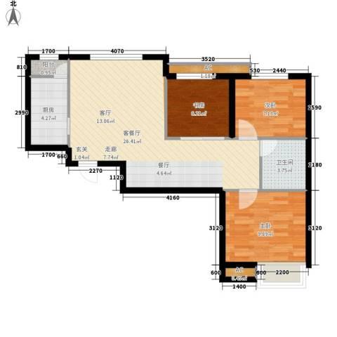 京汉铂寓3室1厅1卫1厨105.00㎡户型图