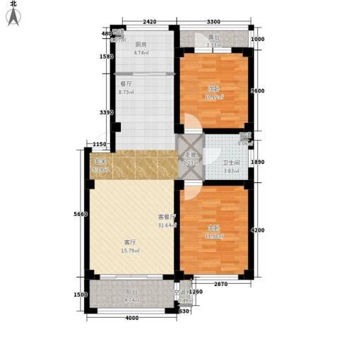 凯隆・城市广场2室1厅1卫1厨85.00㎡户型图